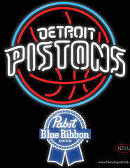 Pabst Blue Ribbon Detroit Pistons NBA Real Neon Glass Tube Neon Sign