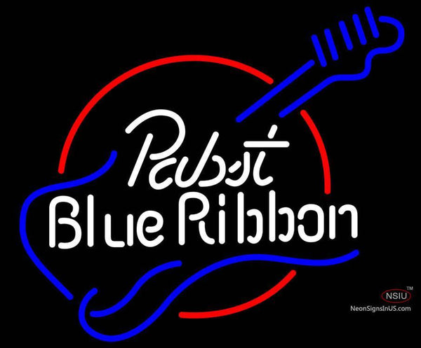 Pabst Blue Ribbon Guitar Neon Beer Sign