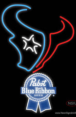 Pabst Blue Ribbon Houston Texans NFL Real Neon Glass Tube Neon Sign