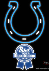 Pabst Blue Ribbon Indianapolis Colts NFL Real Neon Glass Tube Neon Sign