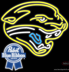 Pabst Blue Ribbon Jacksonville Jaguars NFL Real Neon Glass Tube Neon Sign  7