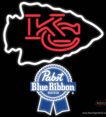 Pabst Blue Ribbon Kansas City Chiefs NFL Real Neon Glass Tube Neon Sign   x
