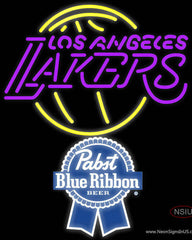 Pabst Blue Ribbon Los Angeles Lakers NBA Real Neon Glass Tube Neon Sign