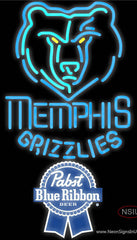 Pabst Blue Ribbon Memphis Grizzlies NBA Real Neon Glass Tube Neon Sign