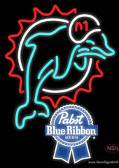 Pabst Blue Ribbon Miami Dolphins NFL Real Neon Glass Tube Neon Sign
