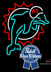 Pabst Blue Ribbon Miami Dolphins NFL Neon Sign