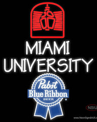 Pabst Blue Ribbon Miami UNIVERSITY Real Neon Glass Tube Neon Sign