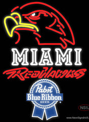 Pabst Blue Ribbon Miami UNIVERSITY Redhawks Real Neon Glass Tube Neon Sign