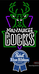 Pabst Blue Ribbon Milwaukee Bucks NBA Neon Sign