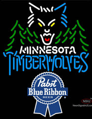 Pabst Blue Ribbon Minnesota Timber Wolves NBA Neon Sign