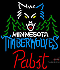 Pabst Minnesota Timber Wolves NBA Beer Neon Sign