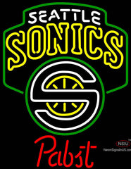 Pabst Seattle Supersonics NBA Beer Neon Sign