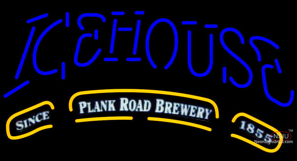 Icehouse Plank Road Brewery Blue Neon Beer Sign