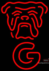 Red Dog Face Vertical Neon Beer Sign