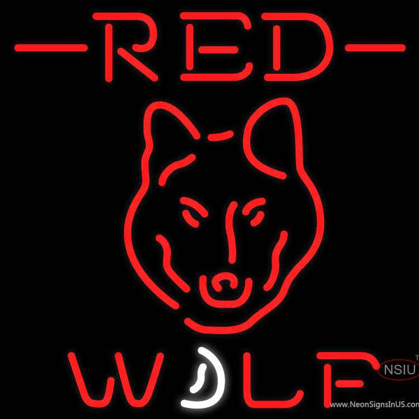 Red Wolf Head all Neon Beer Sign x