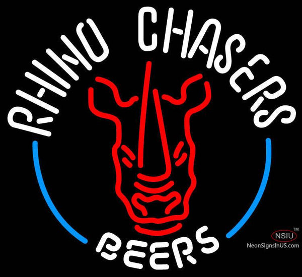 Rhino Chasers Large Neon Beer Sign