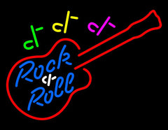 Rock and Roll Guitar Handmade Art Neon Sign