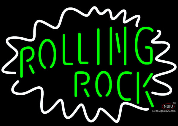 Rolling Rock Single Line Logo With Wavy Circle Neon Sign