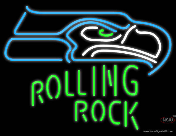 Rolling Rock Single Line Seattle Seahawks NFL Real Neon Glass Tube Neon Sign
