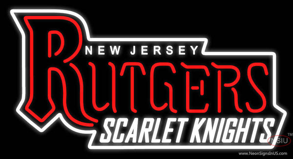 Rutgers Scarlet Knights Wordmark   Logo NCAA Real Neon Glass Tube Neon Sign