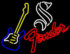 Steinlager Yellow Fender Guitar Handmade Art Neon Sign
