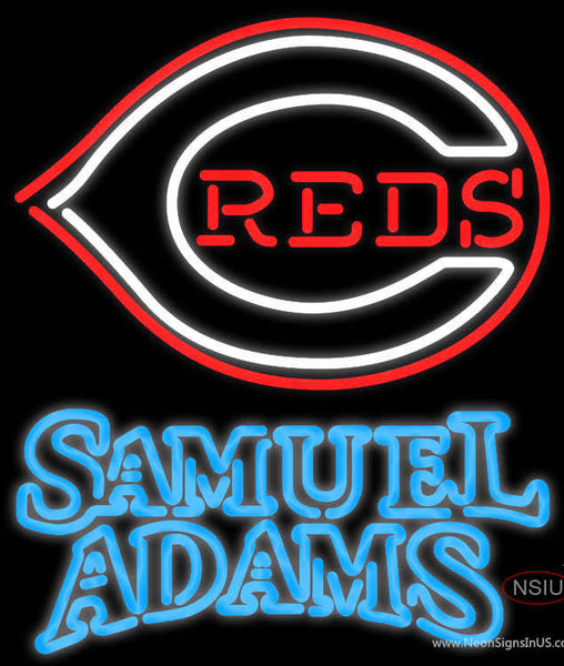 Samual Adams Double Line Cincinnati Reds MLB Real Neon Glass Tube Neon Sign