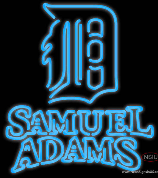 Samual Adams Double Line Detroit Tigers MLB Real Neon Glass Tube Neon Sign