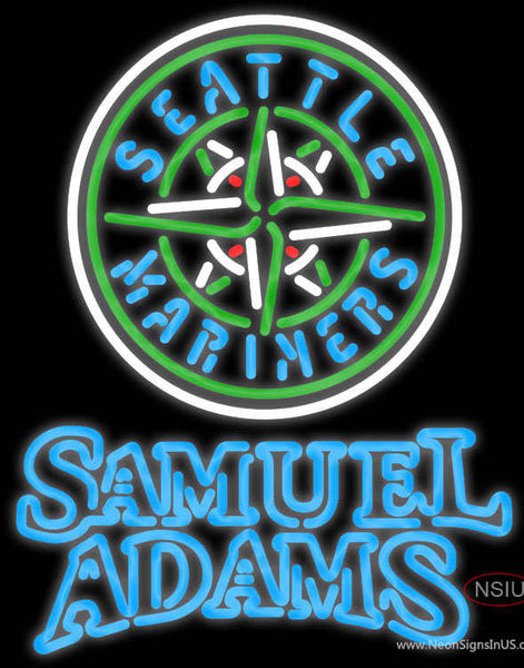 Samual Adams Double Line Seattle Mariners MLB Real Neon Glass Tube Neon Sign