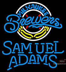 Samual Adams Single Line Milwaukee Brewers MLB Neon Sign