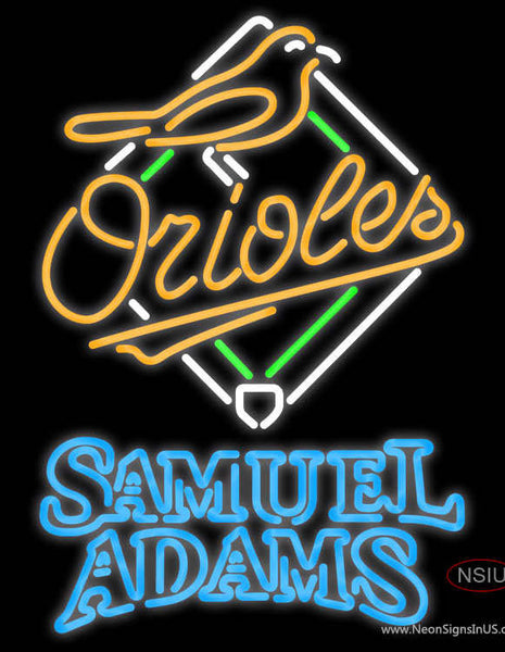 Samual Adams Double Line Baltimore Orioles MLB Real Neon Glass Tube Neon Sign  7