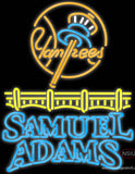 Samuel Adams Bubble Line Logo New York Yankees Real Neon Glass Tube Neon Sign