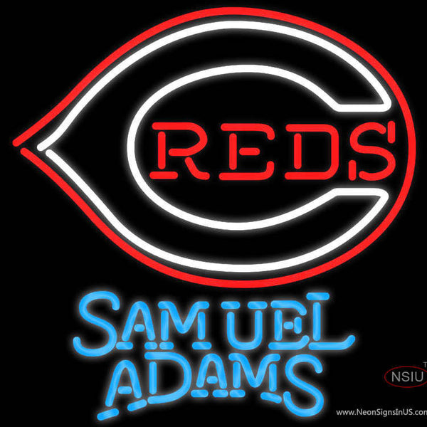 Samuel Adams Cincinnati Reds MLB Real Neon Glass Tube Neon Sign