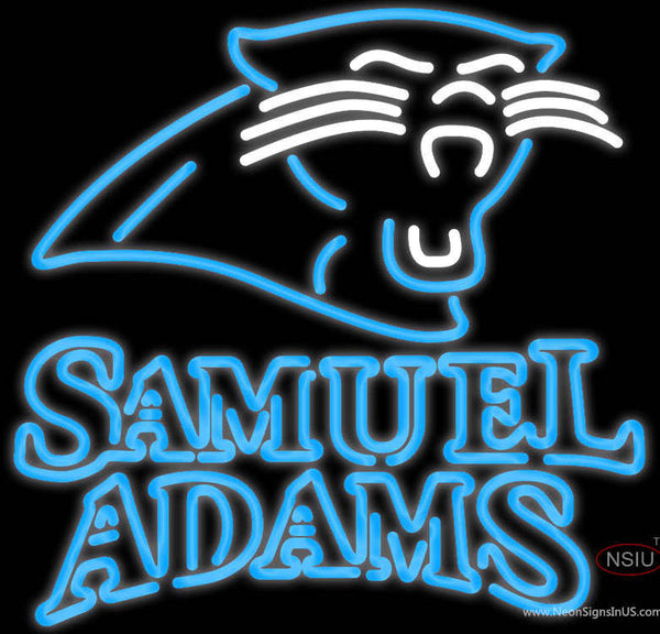 Samuel Adams Double Line Carolina Panthers NFL Real Neon Glass Tube Neon Sign