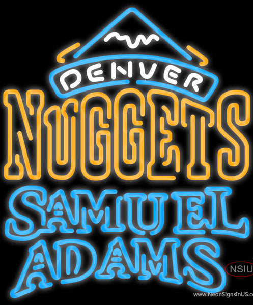Samuel Adams Double Line Denver Nuggets NBA Real Neon Glass Tube Neon Sign