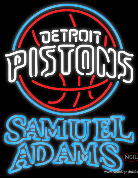 Samuel Adams Double Line Detroit Pistons NBA Real Neon Glass Tube Neon Sign