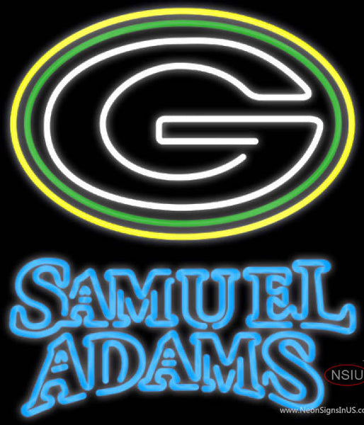 Samuel Adams Double Line Green Bay Packers NFL Real Neon Glass Tube Neon Sign