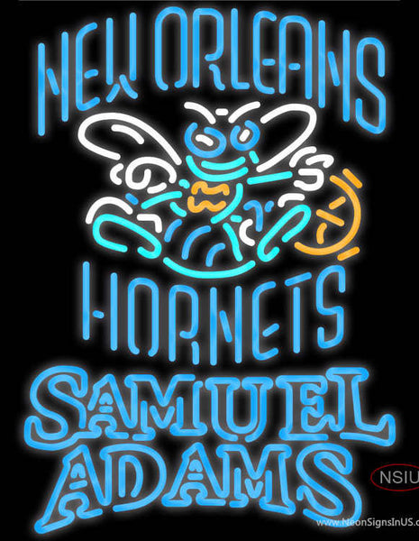 Samuel Adams Double Line New Orleans Hornets NBA Real Neon Glass Tube Neon Sign