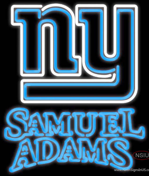 Samuel Adams Double Line New York Giants NFL Real Neon Glass Tube Neon Sign