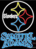 Samuel Adams Double Line Pittsburgh Steelers NFL Real Neon Glass Tube Neon Sign