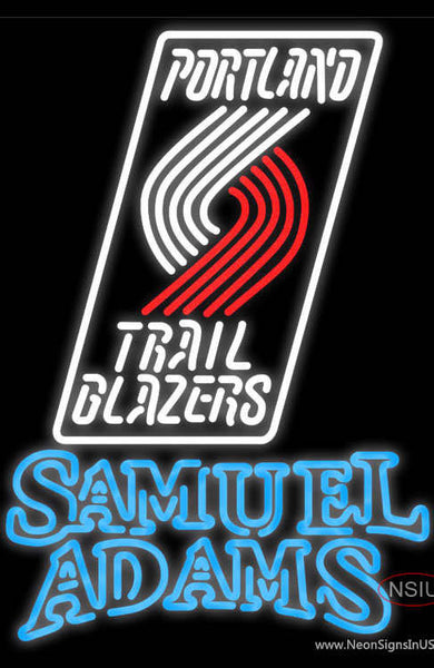 Samuel Adams Double Line Portland Trail Blazers NBA Real Neon Glass Tube Neon Sign