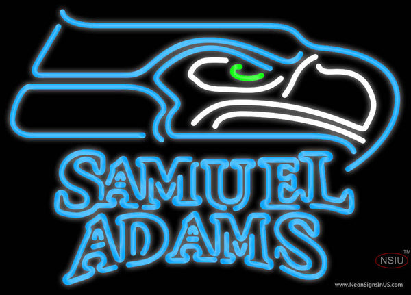 Samuel Adams Double Line Seattle Seahawks NFL Real Neon Glass Tube Neon Sign