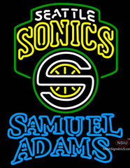 Samuel Adams Double Line Seattle Supersonics NBA Neon Sign