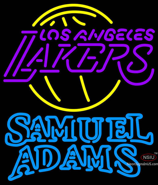 Samuel Adams Double Line Los Angeles Lakers NBA Neon Sign