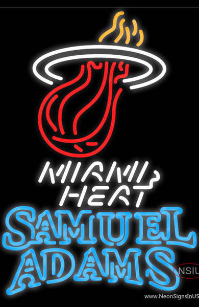 Samuel Adams Double Line Miami Heat NBA Real Neon Glass Tube Neon Sign