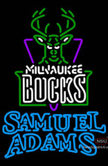 Samuel Adams Double Line Milwaukee Bucks NBA Neon Sign