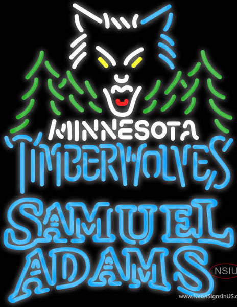 Samuel Adams Double Line Minnesota Timber Wolves NBA Real Neon Glass Tube Neon Sign