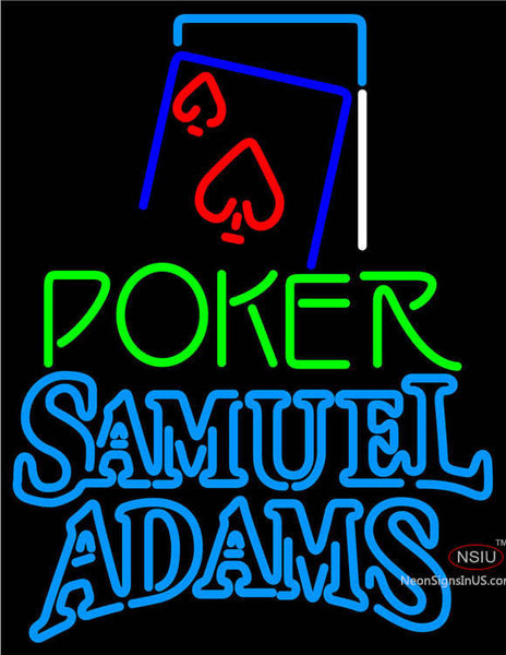Samuel Adams Green Poker Red Heart Neon Sign
