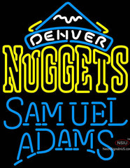 Samuel Adams Single Line Logo Denver Nuggets NBA Neon Sign