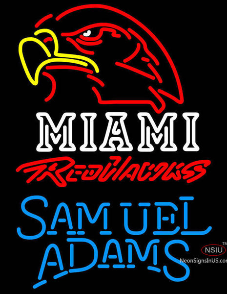 Samuel Adams Single Line Miami UNIVERSITY Redhawks Neon Sign