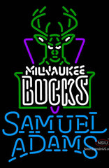 Samuel Adams Single Line Milwaukee Bucks NBA Neon Sign